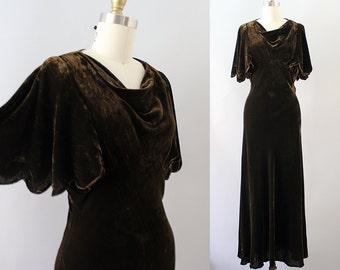 1930s Velvet Gown / Vintage 30s Chocolate Brown Silk Velvet Dress / XS