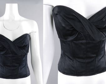 Chanel Vintage 1995 Fall Black Silk Satin Strapless Corset Bustier