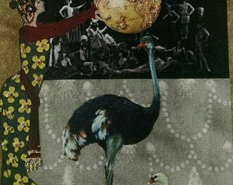 Earth Ostrich Swan Blank Card-World, Globe, Emu, Art Nouveau, Theater, Congratulations, Birthday, Peace, Fashion,