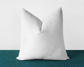 white velvet pillow cover solid white throw pillows white lumbar cushion modern minimalist white home decor