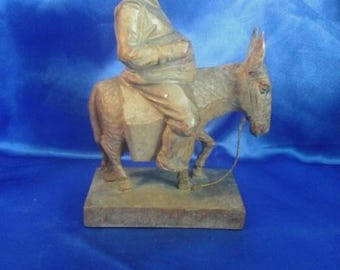 Vintage German Hand Carved Wooden Black Forest Figure 'Farmer on his Donkey'