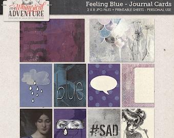 Journal cards, digital art journaling, digital download, printable collage sheet, pocket cards, project life, cards, sad, depressed, blue