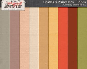 Digital scrapbook papers, cardstock, solid papers, scrapbooking, textures, solids, digital download, fairytale, castle, princess, travel