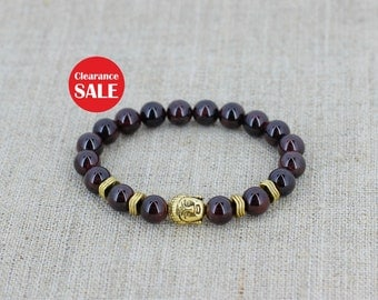 Garnet bracelet Buddha bracelet Energy bracelet Balance bracelet Women gift for men gift for husband gift for boyfriend gift for girlfriend