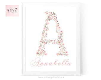 Floral Letter Print, Custom Print, Personalized Gift, Name Print, Cadre, Monogram Print, Nursery Wall Art, Kids Room Decor, Gift Ideas, D1-1