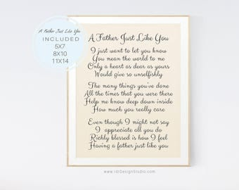 A Father Just Like You, Father's Day Gift, Father's Day Poem, Inspirational Print, Gift Ideas, Dad Gift, Father Birthday, Gift for Dad D66-8