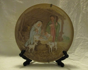 Vintage Homco Nativity decorative collectors plate 7 3/4 inches