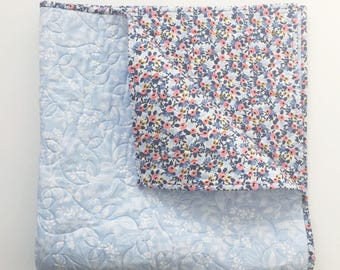 Rifle Paper Co. Wholecloth Baby Quilt with Rosa in Periwinkle and Queen Anne in Blue  >READY-to-SHIP floral toddler quilt, blue crib quilt