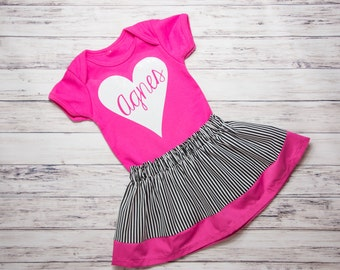 Black, white, and pink skirt set- Personalized pink bodysuit, glitter body suit set, black and white striped skirt, Valentines outfit