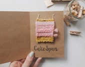 Mini Woven Art Piece | doll house decor, cute gift idea, small wall hanging, woven patch, collectible, small gift, art bookmark