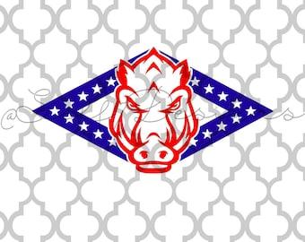 Arkansas Razorback Arkansas state flag svg png dxf