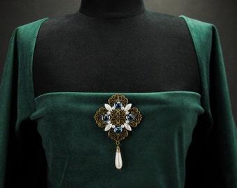 Duchess Lorraine brooch pin, sapphire pearl antique bronze, pin drop pearl blue brooch pin pearl,  Renaissance brooch pin Victorian brooch