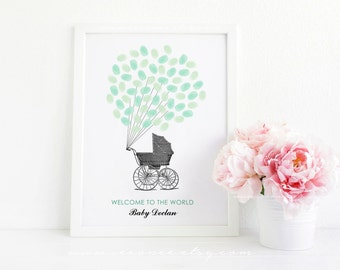 Baby Carriage Fingerprint guestbook - Baby shower stroller thumbprint guest book - Baby shower gift Alternative - Digital file printable