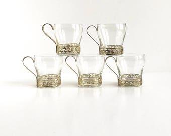Vintage Greek Key Espresso Glasses Set of 5, Vintage Greek Key Glass Coffee or Espresso Cups Set of 5