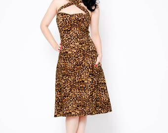 Leopard pin up retro rockabilly cross halter swing dress with pockets