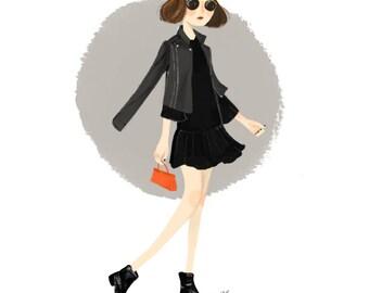 Monochromatic + Pop | fashion illustration digital drawing art