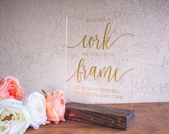 Wine Cork Wedding Guest Book - Cork Wedding Guest Book - Wedding Cork Sign - Sign A Cork Guest Book Sign - Sign a Cork Sign - Acrylic Sign