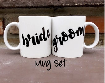 Bride Groom Mug Set - Bride Groom - Mr and Mrs Mugs - Personalized Mugs - Wedding Mugs - Bride and Groom Mug Set - Gift Set