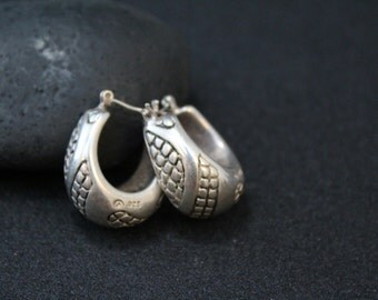 Sterling Silver Hollow Textured Puffy Hoop Earrings