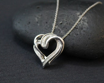 Valentine's Day Sterling Silver Diamond Open Heart Necklace