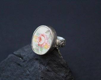 Sterling Silver Oval Flower Rose Pottery Ceramic Ring