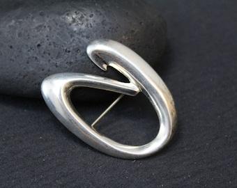 Sterling Silver Modernist Brooch Pin, Sterling Swirl Brooch, Modernist Sterling Silver Jewelry, Modern Silver Pin, Modernist Brooch