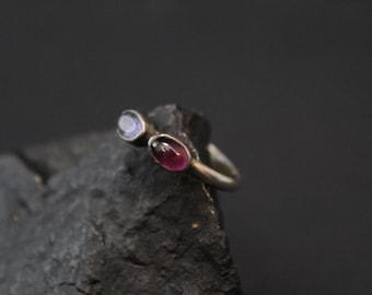 Sterling Silver Amethyst Gemstone Stacker Ring, Amethyst Two Stone Stacking Ring, Silver Gemstone Stack Ring, Silver Amethyst Ring