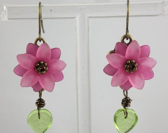 Vintage Bronze Green and Pink Lucite Flower Earrings