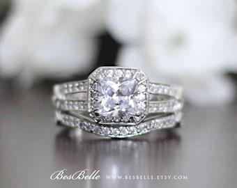European Vintage Art Deco Bridal Set Ring-1.75 ct.tw Cushion Cut Diamond Simulant-Round Curve Wedding Band Ring-Sterling Silver [3716-2]