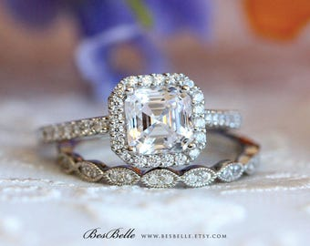 2.88 ct.tw Asscher Cut Main Stone Halo Engagement Ring w/ Art Deco All or Half Eternity band-Bridal Set Ring-Sterling Silver [61926-2A]