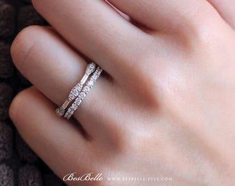 1.53 ct.tw Vintage Art Deco Eternity Stackable Ring Set-Baguette & Brilliant Cut Stones-Full Eternity Ring-Sterling Silver [61631-2-1]