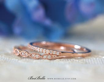 1/2 ct.tw Art Deco Stacking Band Set Ring-Brilliant Cut Pave Set-Two Half Around Stones Ring-Rose Gold Plated-Sterling Silver [65360RGH-2]