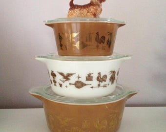Pyrex Set Brown White Americana Pyrex 3 Pieces with Lids PICK ONE or ALL Three your choice! Round Pyrex Bowls Pyrex Casserole Pyrex