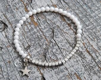 White beaded bracelet with star charm Cacholong stacking bracelet White layering bracelet Matching jewellery Couples bracelets / 4mm beads