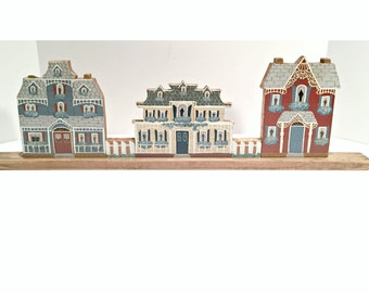 Folk Art Painted Wood Houses
