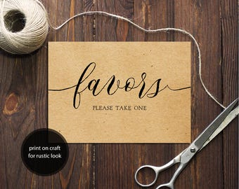INSTANT DOWNLOAD Wedding Sign Favors Please take one 5x7 Rustic Look Kraft Calligraphy Favors Sign Wedding Ceremony Printable Sign 300dpi