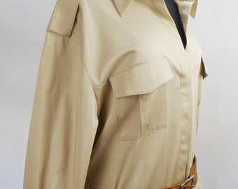 Vintage Betty Barclay Dress, Long  Sleeve Dress,  Sporty Dress, Medium Large,  Cotton Dress, Beige color, Designer Women Clothes
