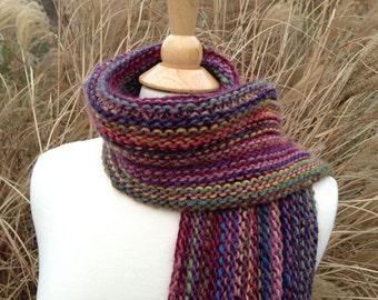Esmeralda - Hand knit Scarf - Wool Blend - Red, Blue, Yellow, Green, Purple, Lavender, Pink - Fringed