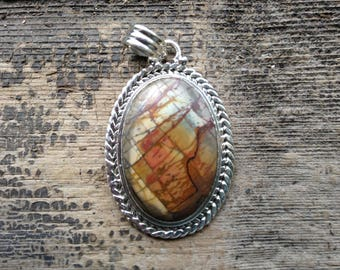 Picasso Jasper and Silver Pendant - Rust, Blue and White - Oval