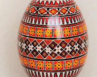 Pysanky, Ukrainian Easter Egg, Pisanki, Decorated Goose egg ornament, popular pattern-Hutsul. Option to purchase hanging stand.