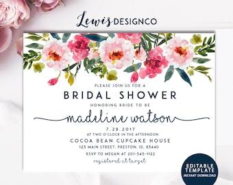 floral bridal shower invitation instant download file pdf diy bride wedding invite card
