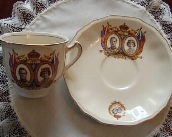 King George VI & Queen Elizabeth Royal Visit to Canada - 1939 by Alfred Meakin - Vintage Tea Cup and Saucer