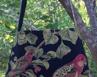Bird Paradise on Black Tapestry Cross Body Bag