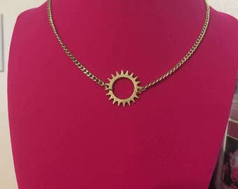 Steampunk Gold Gear Necklace 14""