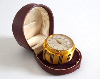 Vintage 1960s JAEGER LECOULTRE Alarm Clock - Swiss Mid Century Bronze Mechanical Small Clock