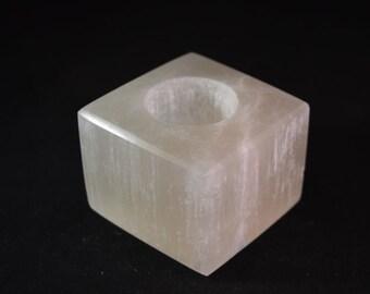 Selenite Cube Tea Light Candle Holder for meditation, healing and Reiki