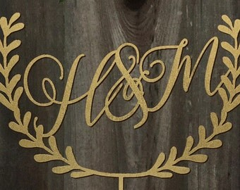 Custom Initials with Laurel Wreath | Wedding Cake Topper 7inches | Calligraphy | Laser Cut Cake Topper by Woodword Design Studio