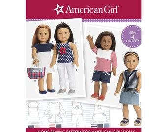 American Girl doll clothes, Simplicity Pattern 8397, or D0677, T- shirt dress, tank top, t-shirt, shorts, skirt, cuffed pants, purse, UN-CUT