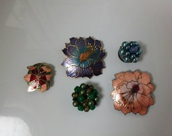 Vintage Magnet Set | 5 Flower Magnets | Upcycled Jewelry | Costume Jewelry Vintage | Fridge Magnets | Custom Magnets