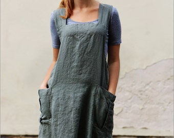Linen Pinafore apron / Square Cross Linen Apron / Japanese Apron / Washed long apron / linen top / linen tunic / linen apron / summer tunic